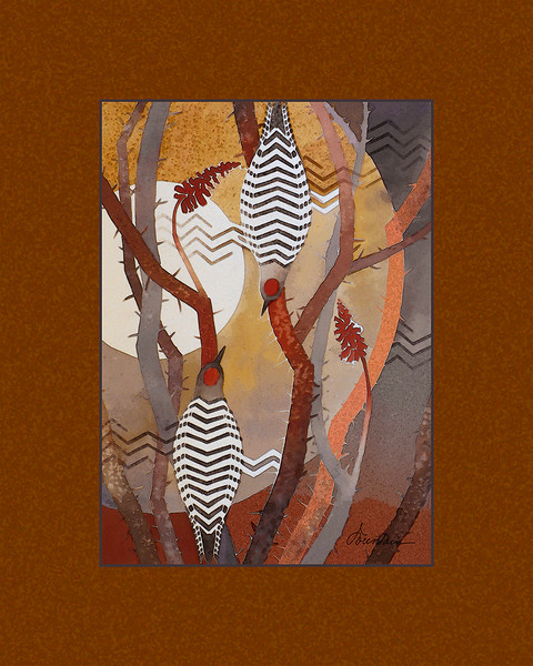 """Gilas in the Ocotillo"" (giclee digital painting) by Ellen Fountain"