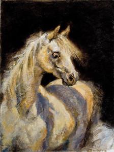 """Little White Mare"" (oil on linen) by Ellen Dreibelbis"