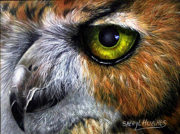 """Owliver"" (acrylic on canvas) by Sheryl Hughes"