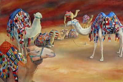 """Bedouin Taxis"" (watercolor) by Elizabeth Burin"