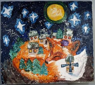 """Christmas Eve "" (oil on canvas) by Odarka Dema-Pisna"