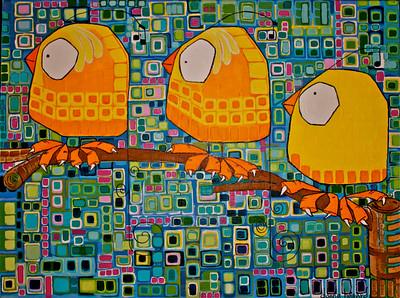 """""""Three Little Birds"""" (acrylic on canvas) by Donna Howard"""