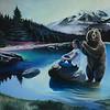 """""""Braiding Bear"""" (acrylic on canvas) by Erin Murray"""