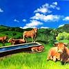 """Cows"" (acrylic on canvas) by Yana Prados"