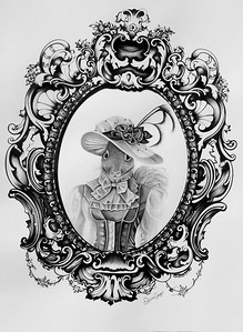 """Lady Stephany - Victorian Squirrel"" (charcoal & ink) by Diana Carbajal"