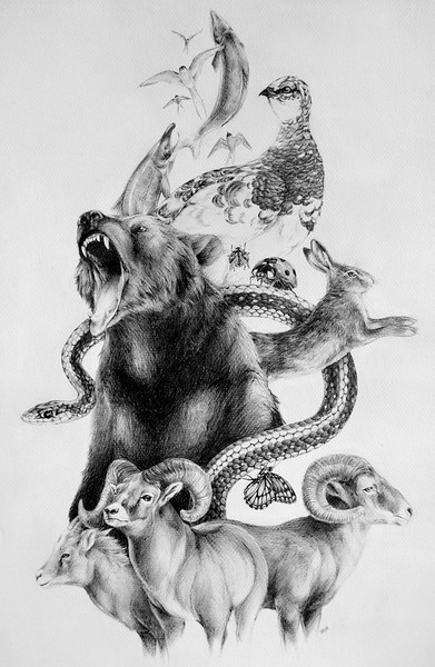 """Denali Totem"" (ballpoint pen on paper) by Amy Albright"