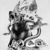 """Denali Totem"" (ballpoint pen on paper) by Amy Albright"