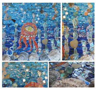 """The Sea's Riches"", 2016 (mosaic: Drawing by Camilla (7). ceramic, metal, millefiori, shells, pearls, buttons, coins, mirror and glass on wooden board, direct method) by Francesca Busca"