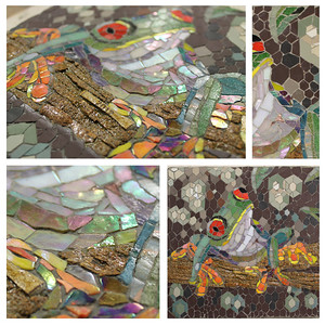 """Freddie"", 2015 (mosaic: ceramic, glass and cork on marmox, indirect method) by Francesca Busca"