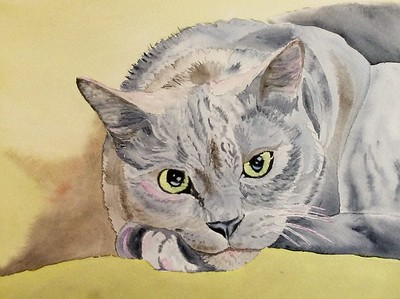 """Puss Off"" (watercolor) by Sonja Jones"