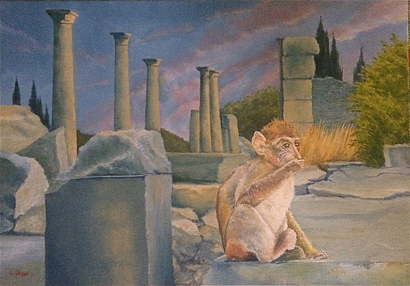 """The Monkey Rules Volubilis"" (oil on canvas) by Louis Degni"