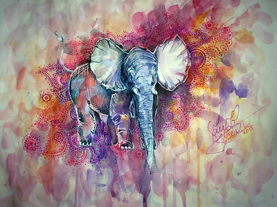 """Elephant Grace"" (watercolors, fineliners, white pen) by Yelyzaveta Glybchenko"