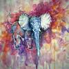 """Elephant Grace"" (watercolors, fineliners, white pen) by Yelyzaveta Glybchenko"
