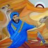 """Morocco - Berber with his camel"" (tempera) by Natalia Proskuriakova"