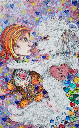 """Puppy Love"" (acrylic) by Jennifer Carberry-Landis"