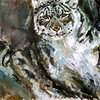 """Snow Leopard"" (oil on canvas) by Natalya Milyutina"