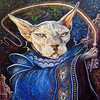 """Interstellar Warrior Sphynx"" (oil on whiteboard) by Timothy Flanagan"