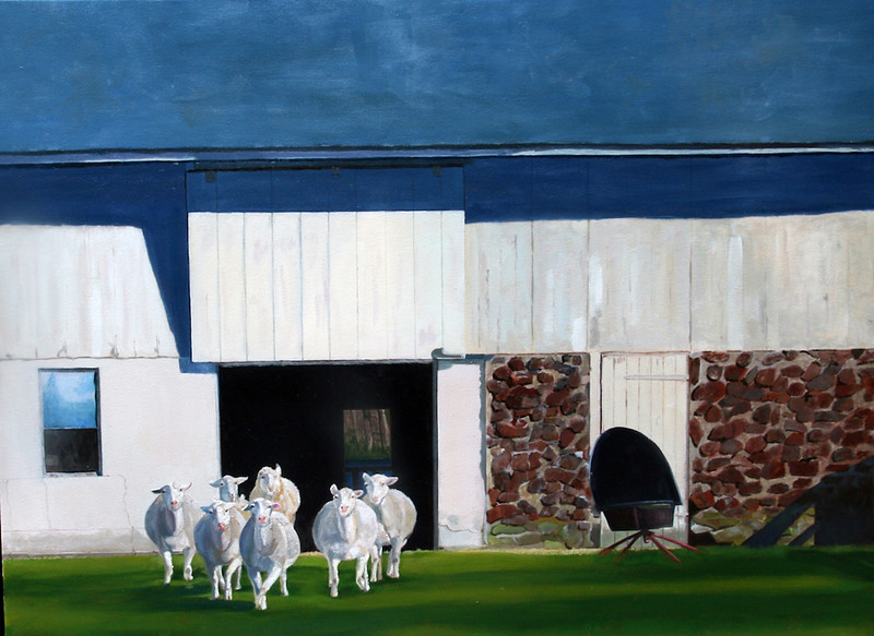 """Sheared Sheep"" (oil) by Cheryl Kramer"