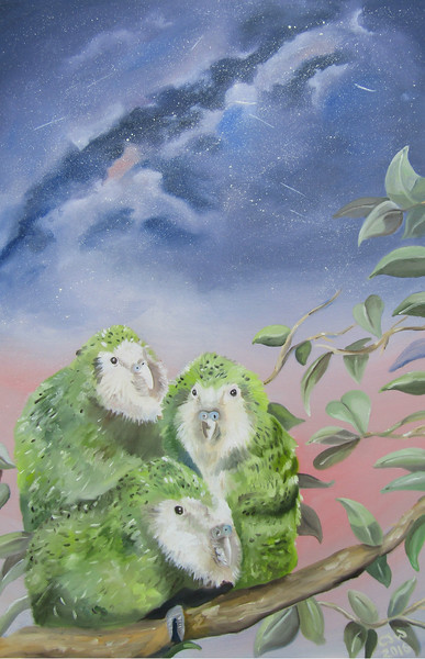 """Night Parrots"" (oil on canvas) by Chloe Waterfield"