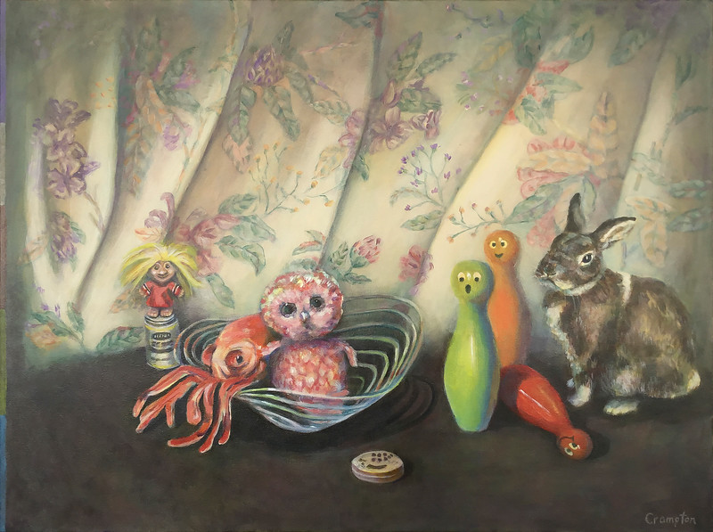 """Still life w octopus and George"" (acrylic on canvas) by Carolyn Crampton"