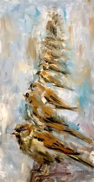 """Birds"" (oil on canvas) by Natalya Milyutina"