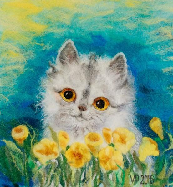 """""""Cat and flowers"""" (fiber art) by Viktoriya Pattison"""