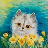 """Cat and flowers"" (fiber art) by Viktoriya Pattison"
