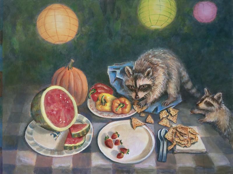 """Raccoons"" (acrylic on canvas) by Carolyn Crampton"