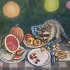 """Raccoons"" (acrylic on canvas) by Carolyn Crampton"