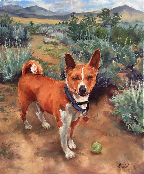 """""""Play Fetch"""" (oil on linen) by Samantha Fried"""