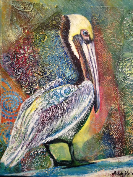 """Pelican"" (mixed media/acrylic) by Michele Walter"