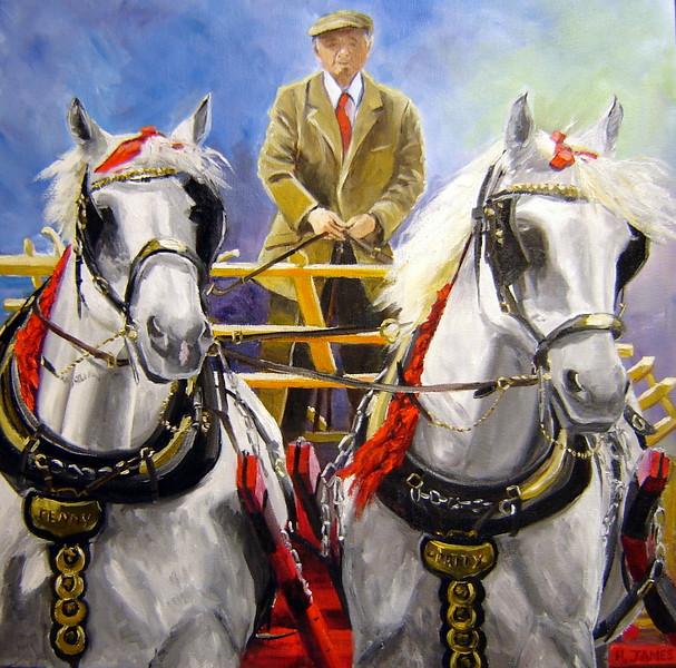 """Percherons"" (oil on canvas) by Helen James"