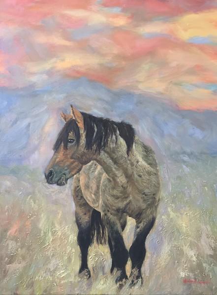 """Mystical Wild Stallion"" (oil on canvas) by Amber Sampson"