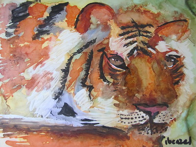 """Tiger, Tiger Burning Bright"" (multi-media -alcohol inks, acrylics, luminaire) by Ilona Benzel"