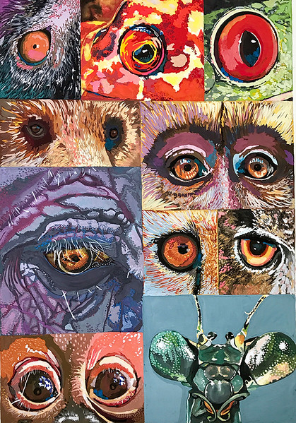 """ANIMAL EYES"" (gouache) by Rachel Emery"