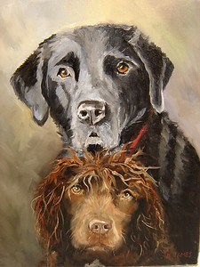 """Danny and Henry"" (oil on canvas) by Helen James"