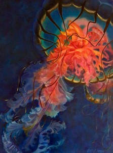"""Pacific Nettle Jelly Fish"" (oil on canvas) by Mitra Devon"