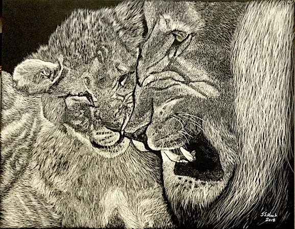 """""""Playing with Dad"""" (scratchboard) by James Hoch"""