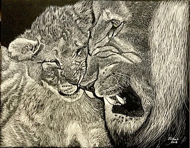 """Playing with Dad"" (scratchboard) by James Hoch"