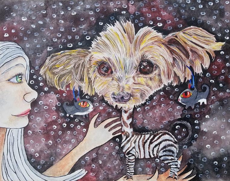"""Creature"" (acrylic) by Jennifer Carberry-Landis"