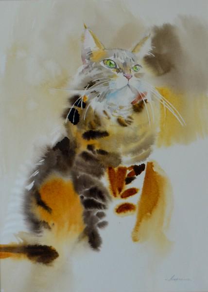 """Grey-red Tiger"" (watercolor on paper) by Alfiya Mukhamedyanova"