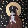 """St. Vinnie"" (acrylic on canvas, gold) by Mary Dick"