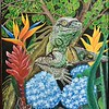"""Iguana in Tropical Flora"" (acrylic) by Raymond Raza"