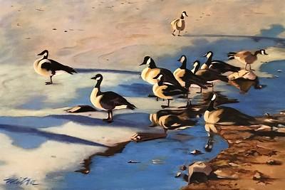 """Geese on Frozen Pond"" (oil on canvas) by Mitra Devon"