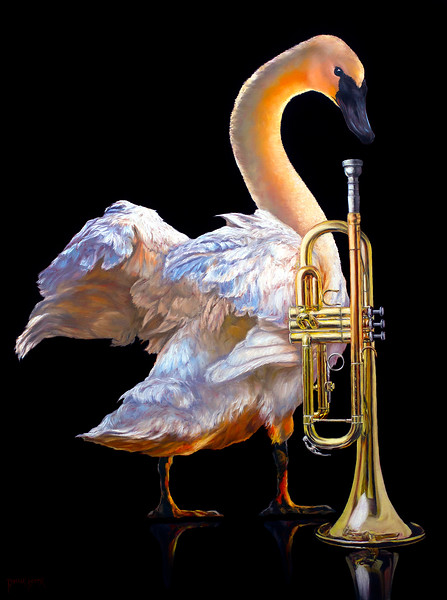 """The Trumpeting Trumpeter"" (oil) by Rebecca Korth"