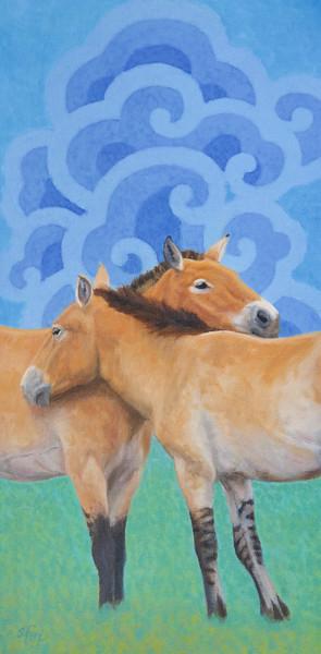 """""""Two Takhi"""" (oil) by Susan Fox"""