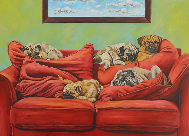 """""""Five Pugs on A Red Couch"""" (oil on canvas) by Caleb Mathews"""