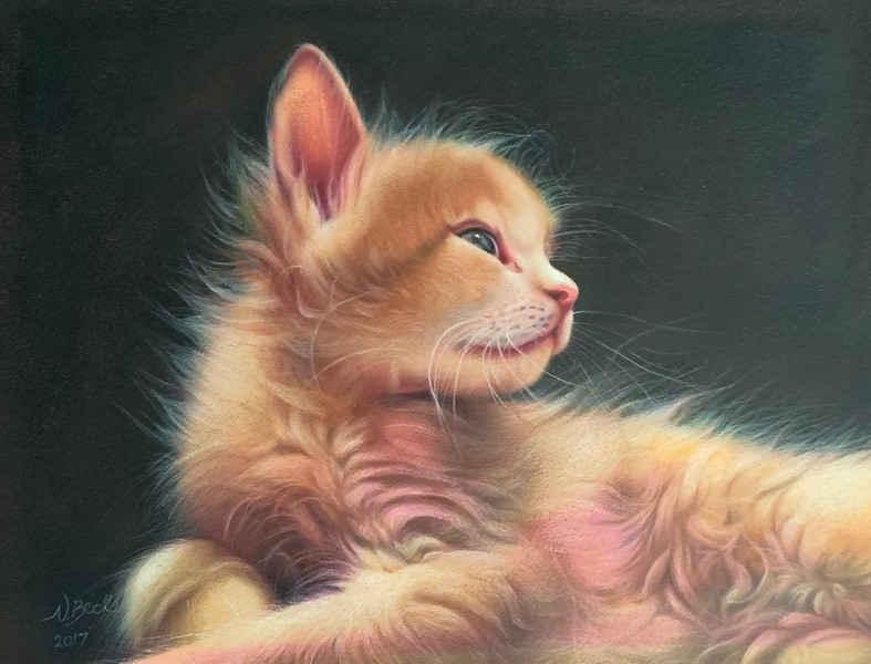 """Blossom as a Kitten"" (colored pencil) by Nathalie Beck"