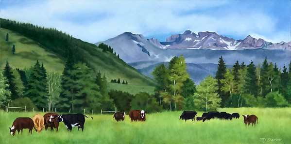 """In the Pasture"" (oil on canvas) by Mitra Devon"