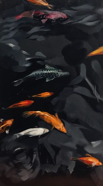 """""""Fishes"""" (oil on canvas) by Polina Kuzmina"""